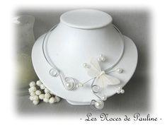 Collier mariage blanc Papillon Anaïs 'Les Volutes' : Collier par lesnocesdepauline