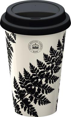 Travel Mug - Kew Gardens Ferns Black from KitchenRules