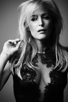 """celebrityplunge: """" dailyactress: """"  Gillian Anderson Photoshoot by Nick Haddow """" Gillian Anderson stunning cleavage in a low cut revealing black lace dress """""""