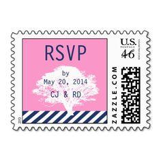 Navy Blue and Pink Preppt Wedding RSVP Postage Stamp by designer Elke Clarke©. Purchase at www.zazzle.com/monogragallery*