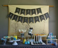 Boy's Mad Science Birthday Party Dessert Table