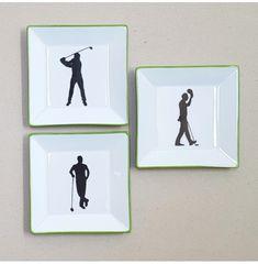Ensemble de 3 petits vide-poches golfeurs