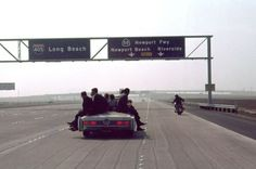 Kennedy's motorcade travels CA Highway 405...in total, the LAPD issued his campaign 156 traffic violations