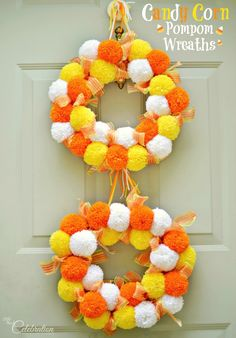 Bright, fluffy and Halloween-happy, Candy Corn Pompom Wreaths are candy-inspired holiday decor for doors or windows! - Crafting Tips Image Halloween, Holidays Halloween, Halloween Crafts, Halloween Decorations, Halloween Wreaths, Halloween Candy, Fall Wreaths, Fall Crafts, Holiday Crafts