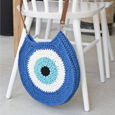 Crocheted evil eye bag Blue Handbag Greek Eye Handbag