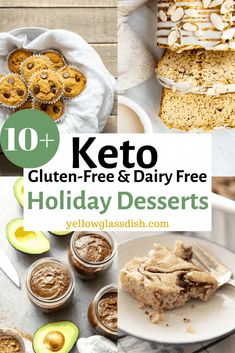 Low carb and keto gluten-free and dairy-free holiday desserts - Cakes, pie, breads, puddings, cookies! Lots to choose from!  #glutenfree #dairyfree #christmasketo #keto #lowcarb #ketorecipes #dairyfreeketo