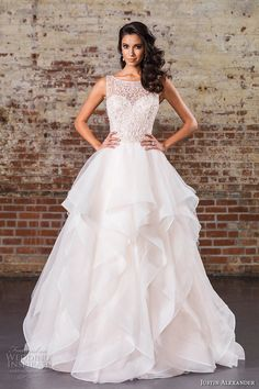 justin alexander spring 2017 bridal sleeveless illusion bateau sweetheart neckline heavily embellished tiered layered a line wedding dress v back chapel train (9847) mv