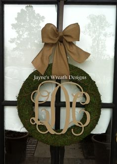 Moss wreath with Burlap ribbon and monogram letters