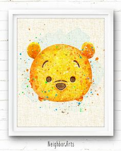 winnie the pooh poster, disney print, tsum tsum, kids decor Tsum Tsum Party, Disney Tsum Tsum, Arte Disney, Disney Art, Fundo Tsum Tsum, Watercolor Disney, Watercolor Paintings, Disney Drawings, Cute Drawings
