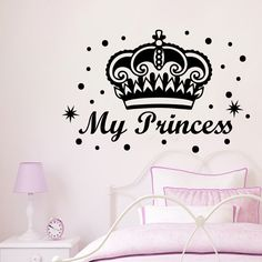 Wall Decals Princess Crown Star Girls Lettering Nursery Room Vinyl Sticker MR452 #STICKALZ #MuralArtDecals