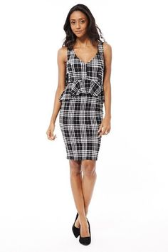 Black and White Tartan Peplum Dress with Bow Detail  �24.99