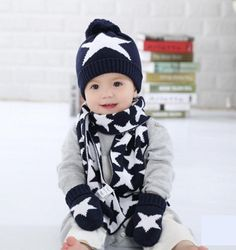 c50c2114c4c48 3 Pcs Winter Baby Hat with Scarf and Gloves Stars Crochet Knitted Cotton  Caps for Infant Boys Children Keep Warm Kids Hats Set