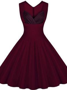 Gorgeous maroon retro style dress