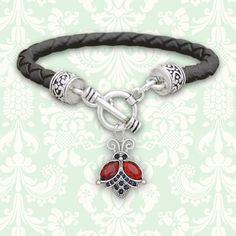 $5.90 - Flying Ladybug Leather Bracelet  charmingcollectables.net