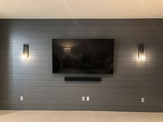 DBC Home Shiplap on TV wall Basement Wall Colors, Basement Movie Room, Basement Living Rooms, Accent Walls In Living Room, Basement Walls, Basement Remodel Diy, Basement Makeover, Basement Renovations, Home Remodeling