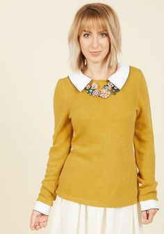 Wine Appreciation Sweater in Goldenrod - Yellow, Peter Pan Collar, Long Sleeve, Casual, Knit, Mid-length, White, Solid, Work, Vintage Inspired, Scholastic/Collegiate, Collared, Fall, Yellow, Long Sleeve, Press Placement, Store 1