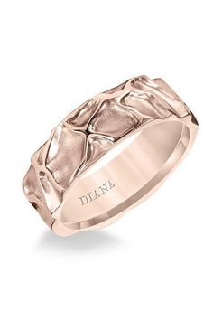 15 Unique Wedding Bands for Your Groom | Rose Gold Textured Band | Diana