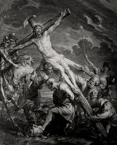 Christ's earthly ministry in the Phillip Medhurst Bible 421 of 550 Jesus is crucified Matthew 27:35 after Vandyck on Flickr. A print from the Phillip Medhurst Collection at St. George's Court, Kidderminster.