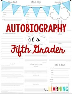 Writing Your Own Autobiography  Writing Paper Graphic Organizers