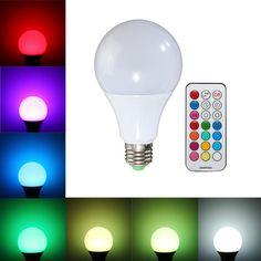 E27 B22 10W RGBW Smart LED Light Bulbs Colorful Globe Blub Remote Control AC85-265V