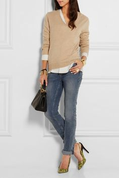Denim with beige for fall and winter @ JCrew @ Net A Porter