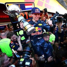 old Max Verstappen has become the youngest driver ever to win a Formula One race, scoring victory by six tenths of a second at the Spanish Grand Prix on Sunday. Red Bull Media House, Barcelona 2016, Spanish Grand Prix, Daniel Ricciardo, Red Bull Racing, Fighter Pilot, F 1, Sport Man, Formula One