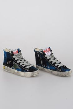 GOLDEN GOOSE KIDS New Blue Black Tartan Fabric FRANCY Hi-Top Sneakers Shoes  30  fashion  clothing  shoes  accessories  kidsclothingshoesaccs   unisexshoes ... c02a72954