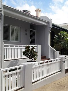 Balcony Deck White Wooden Balustrade White Wooden Table