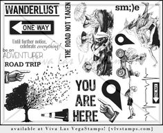 Plate 927 - #WANDERLUST - let #adventure take you away! -- #art #rubber #stamps on sale now! vlvstamps.com