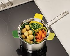 JOSEPH JOSEPH Nest™ Steam. Individual steams that hook onto pan, and nest to store