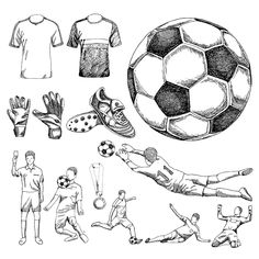 Find Design Elements Soccer Doodle Illustration stock images in HD and millions of other royalty-free stock photos, illustrations and vectors in the Shutterstock collection. Soccer Tattoos, Football Tattoo, Sports Drawings, Art Drawings For Kids, Soccer Drawing, Football Poses, Girls Nail Designs, 100 Millions, Equipement Football