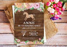 Pink Horse Party Invitations, Horse Birthday Invitation, Horse Invitation, Floral Cowgirl Invitation, Pony Birthday Invite, Country Horse