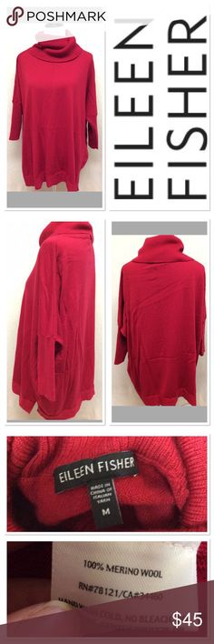 M EILEEN FISHER red oversized slouchy sweater Brand: Eileen Fisher  Style: oversized sweater Size: M Material: 100% merino wool Features: slouchy oversized neck, very soft Condition: EUC Eileen Fisher Sweaters Cowl & Turtlenecks