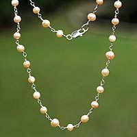 Novica   Pearl necklace, 'Pink Radiance'