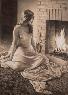 By the Fire copyright 2014 Edson Campos Beautiful Pencil Drawings, Art Drawings Sketches Simple, Pencil Art Drawings, Charcoal Art, Beautiful Fantasy Art, Fine Art, Portrait Art, Portraits, Figure Painting