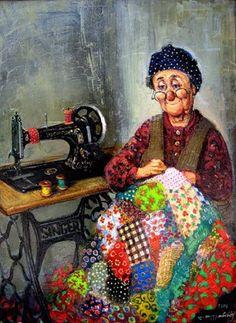 Лоскутные одеяла в картинах Ладо Тевдорадзе