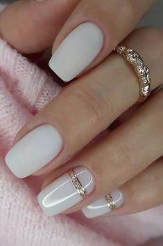 Classy Nails, Stylish Nails, Trendy Nails, Chic Nails, Milky Nails, Pink Acrylic Nails, Matte White Nails, White Short Nails, White Manicure