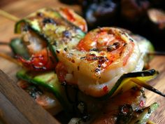 Shrimp and Zucchini Skewers from Laura Calder of French Food at Home. Part of French BBQ Dinner with Balsamic Chicken & Fig Brochettes, Monkfish in Herbes de Provence Marinade, Tarragon Potato Salad, Greek Salad & Wine Jelly with Grapes ~ CookingChannelTV.com