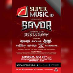 "Supermusic.id | @supermusic.id and  Theatrisic Proudly Presents  Launching 1st Album Savor ""Hellegion""  Saturday July 29th 2017 Start : 3 P.M. - 10 P.M. At Brawijaya Edu Park (ex-senaputra)  Performed by : - Rottenomicon (@rottenomicon) - Anorma - Hand Of Hope (@handofhopeofficial) - Delirium Carnage - Neurosesick (@neurosesick_official) - Fallen To Pieces (@ftp_mlg) - Revolt Of Sand (@revoltofsand) - Intervensi (@intervensi_mlg) - Non Sense (@nonsense_thrash) - Cak Jum HC…"
