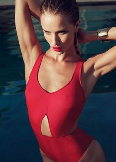 Red swimsuit. Harpers Bazaar - Editorial with Rosie Huntington-Whiteley