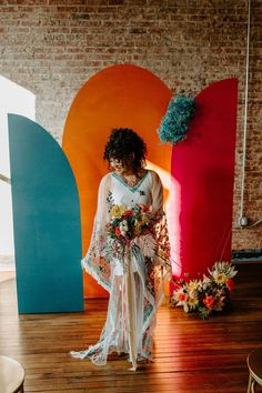 Playful Colorful Wedding Bohemian Wedding Ideas Colorful Wedding Dress Tattooed Bride Soutthwest Inspired Wedding Thoughtfully Designed Co