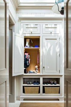 Bench in mudroom similar to lower half, needs a durable top surface like a well worn wood, open shelving for baskets and shoes? Entry Hallway, Foyer, Entryway, Built In Storage, Cubby Storage, Cabinet Trim, Mudroom Laundry Room, Built In Cabinets, Custom Cabinetry