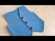 Tığ işi Efe Yeleği /Kolay Model Erkek Bebek Yeleği/6-12 ay - YouTube Baby Sweater Knitting Pattern, Knitted Baby Cardigan, Knitted Baby Clothes, Baby Knitting Patterns, Baby Boy Vest, Moda Crochet, Baby Sweaters, Easy Model, 12 Months