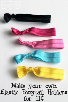 Elastic Ponytail Holders handmade for only 11¢ each | www.amygigglesdesigns.com