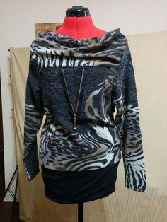Buy it now! Unique Animal Print Knit Top Blouse Feline Size Small Drape Boat Neck w/ Zipper #Feline #KnitTop