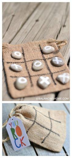 Tic-tac-toe game in a bag. Great for travel and as a gift idea.