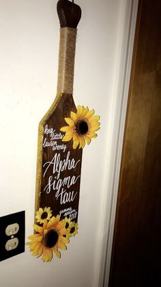 Alpha Sigma Tau sorority paddle big little paddle ast big little sunflowers glitter calligraphy twine rustic cute