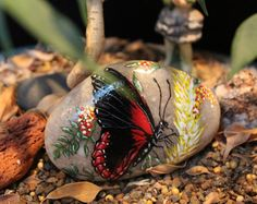 Hand painted red butterfly stone