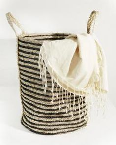 Charcoal Striped Tall Basket Remodelista