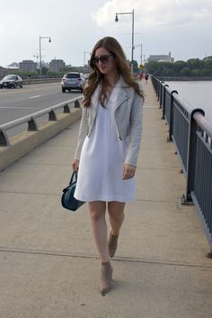 Summer-Fall Transition Look: Light Grey Cropped Joie Leather Jacket, White Shift Dress & Booties